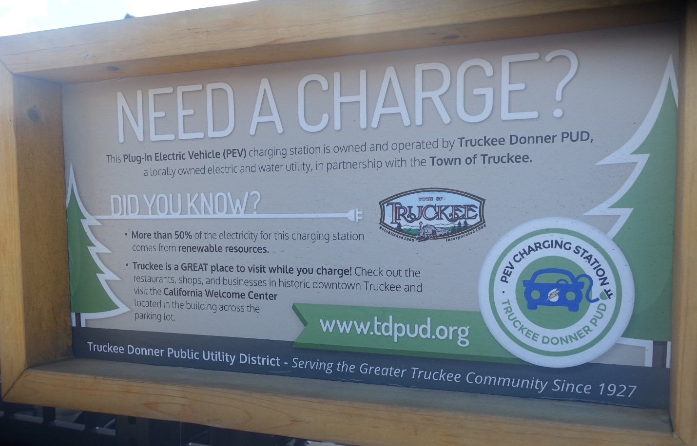 Truckee Train Depot Charging Station Sign